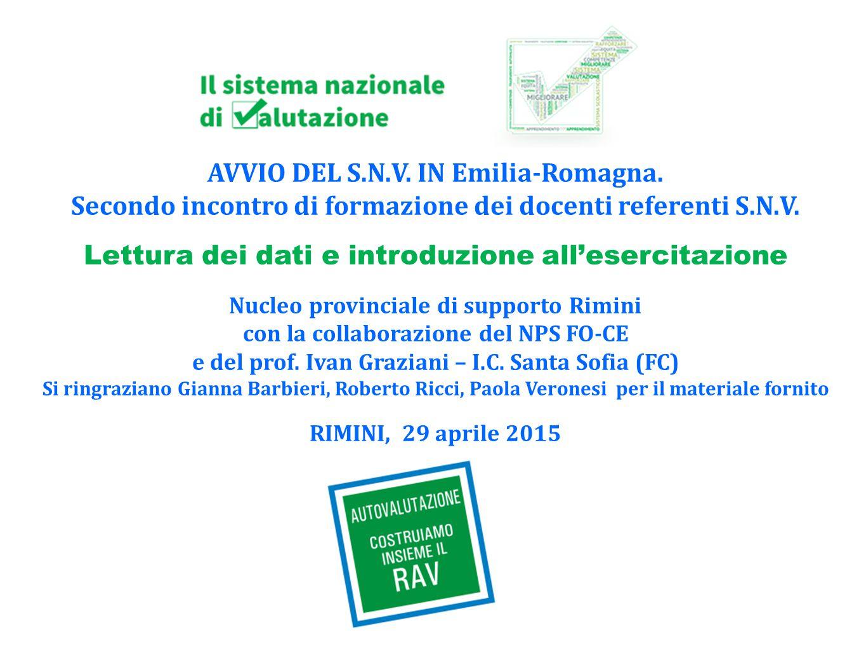 AVVIO DEL S.N.V. IN Emilia-Romagna.