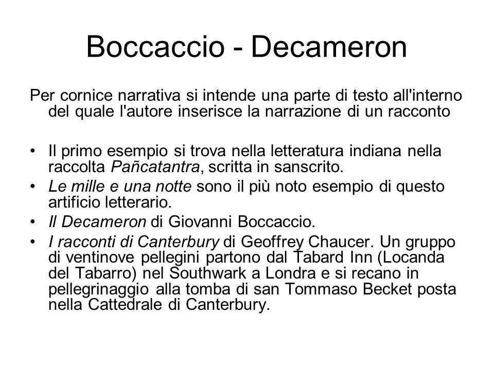 Boccaccio - Decameron Per cornice narrativa si intende una parte di testo all interno del quale l autore inserisce la narrazione di un racconto.