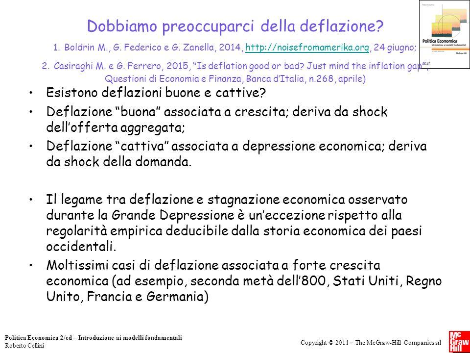 Dobbiamo preoccuparci della deflazione 1. Boldrin M., G. Federico e G. Zanella, 2014, http://noisefromamerika.org, 24 giugno; 2. Casiraghi M. e G. Ferrero, 2015, Is deflation good or bad Just mind the inflation gap , Questioni di Economia e Finanza, Banca d'Italia, n.268, aprile)