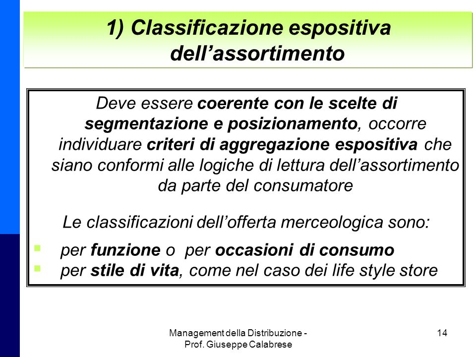1) Classificazione espositiva dell'assortimento