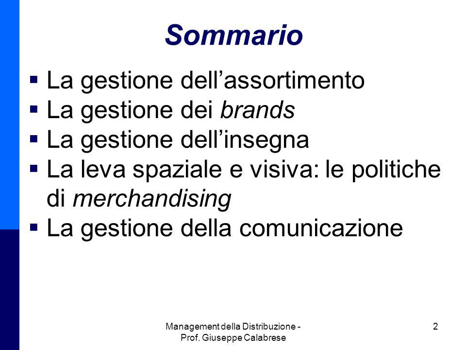 Management della Distribuzione - Prof. Giuseppe Calabrese