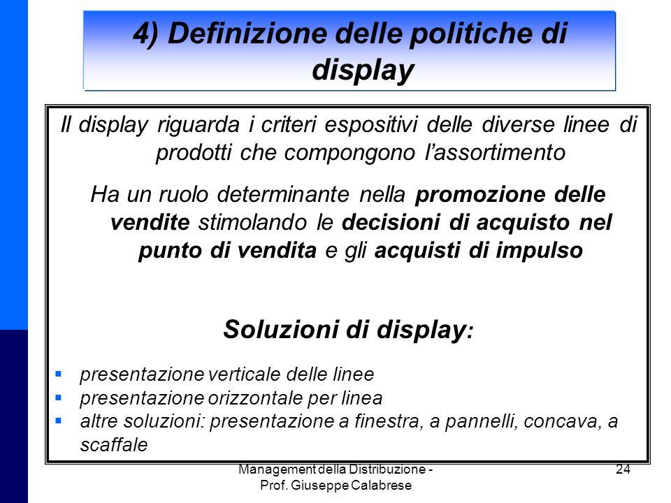 4) Definizione delle politiche di display