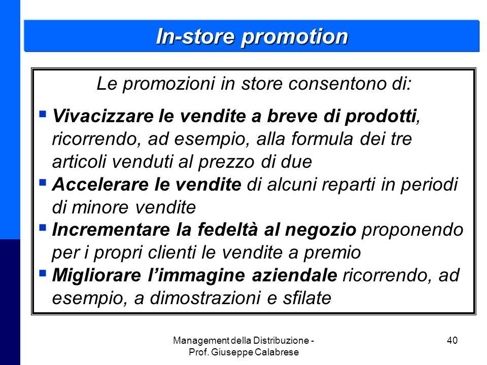 In-store promotion Le promozioni in store consentono di: