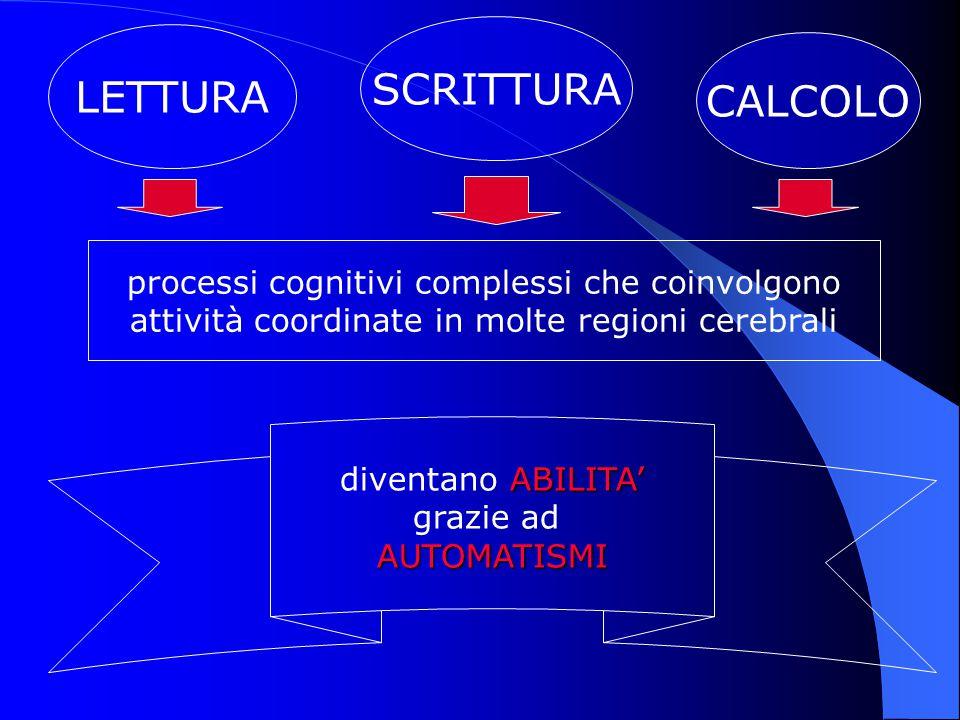 SCRITTURA LETTURA CALCOLO processi cognitivi complessi che coinvolgono