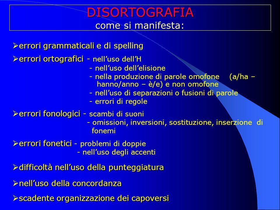 DISORTOGRAFIA come si manifesta: errori grammaticali e di spelling