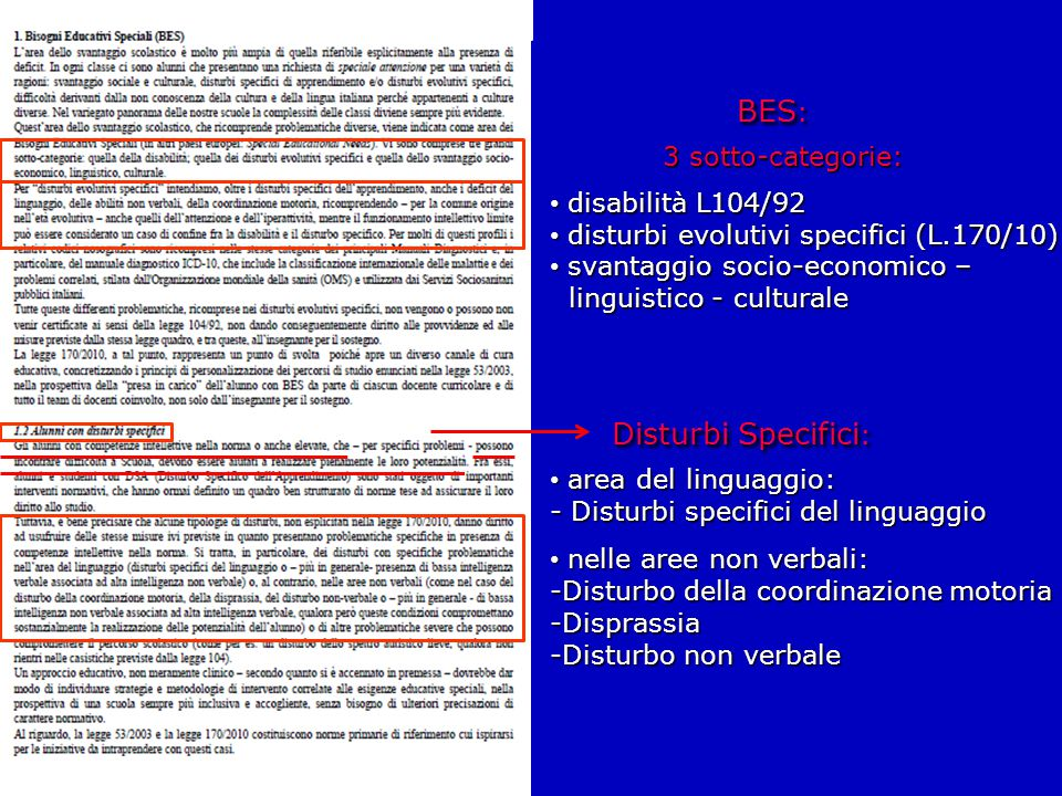 BES: Disturbi Specifici: 3 sotto-categorie: disabilità L104/92