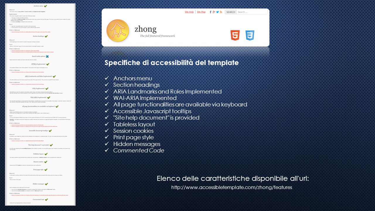 Specifiche di accessibilità del template