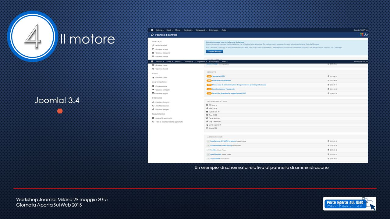 Un esempio di schermata relativa al pannello di amministrazione