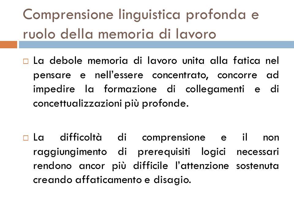 Comprensione linguistica profonda e ruolo della memoria di lavoro