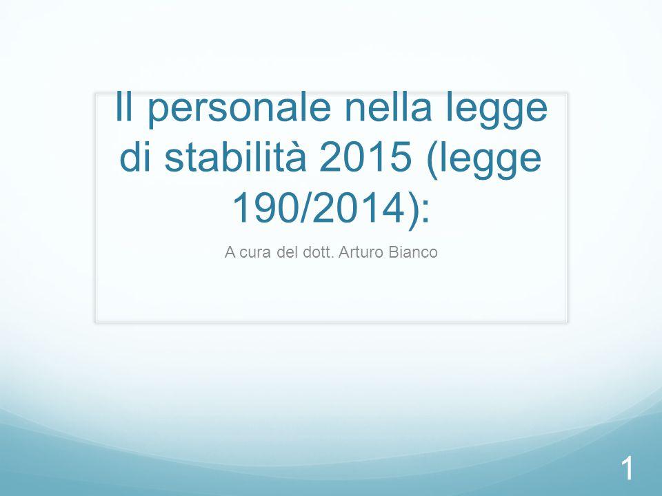 Il personale nella legge di stabilità 2015 (legge 190/2014):