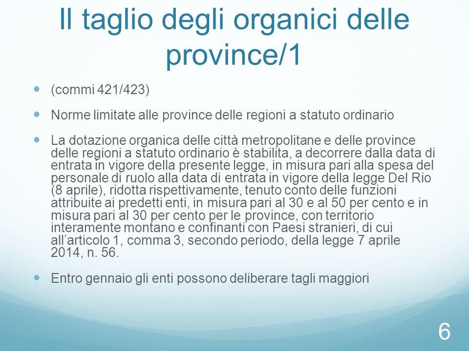 Il taglio degli organici delle province/1
