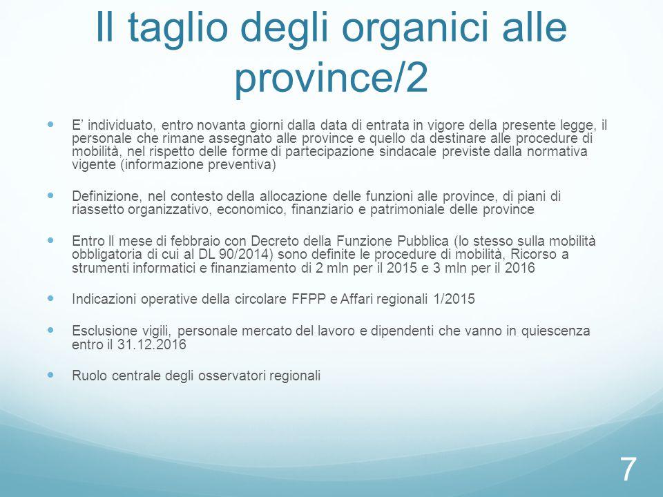 Il taglio degli organici alle province/2