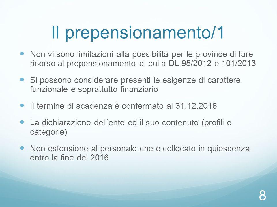 Il prepensionamento/1 Non vi sono limitazioni alla possibilità per le province di fare ricorso al prepensionamento di cui a DL 95/2012 e 101/2013.