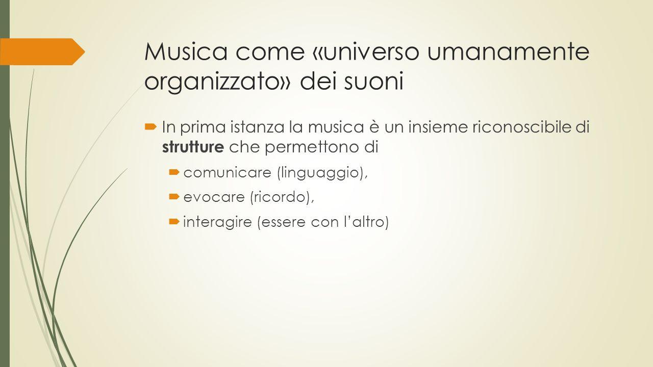 Musica come «universo umanamente organizzato» dei suoni