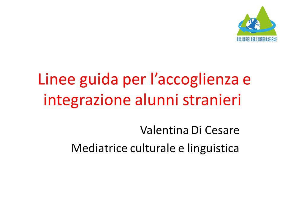 Linee guida per l'accoglienza e integrazione alunni stranieri