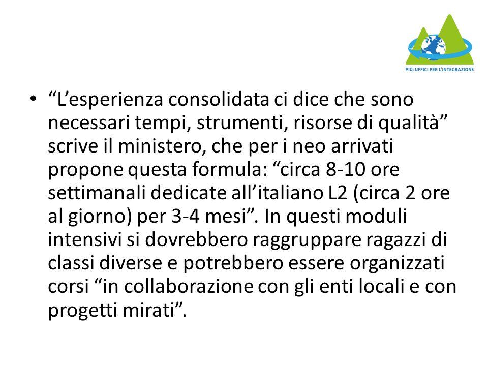 L'esperienza consolidata ci dice che sono necessari tempi, strumenti, risorse di qualità scrive il ministero, che per i neo arrivati propone questa formula: circa 8-10 ore settimanali dedicate all'italiano L2 (circa 2 ore al giorno) per 3-4 mesi .