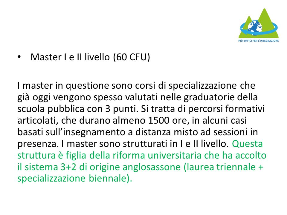 Master I e II livello (60 CFU)