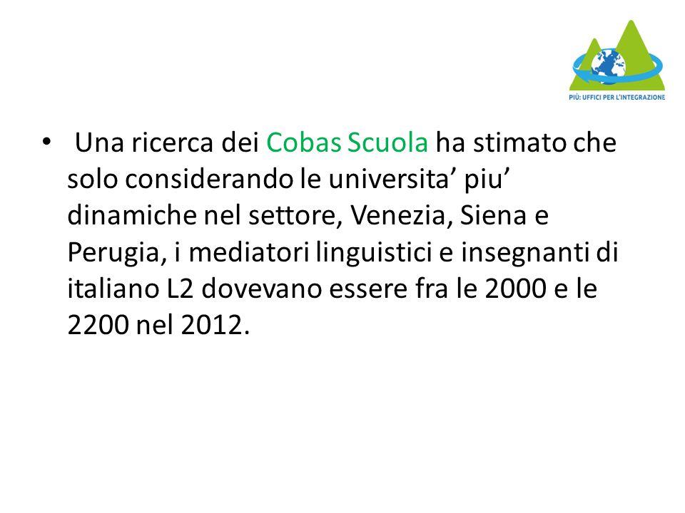 Una ricerca dei Cobas Scuola ha stimato che solo considerando le universita' piu' dinamiche nel settore, Venezia, Siena e Perugia, i mediatori linguistici e insegnanti di italiano L2 dovevano essere fra le 2000 e le 2200 nel 2012.
