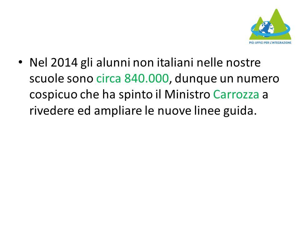 Nel 2014 gli alunni non italiani nelle nostre scuole sono circa 840