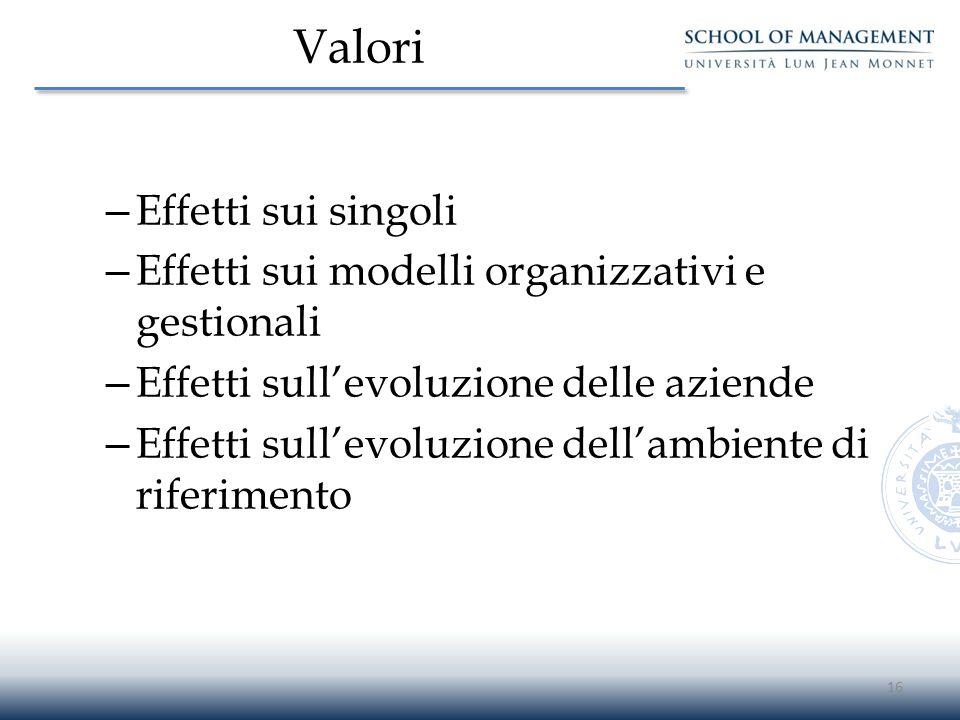 Valori Effetti sui singoli
