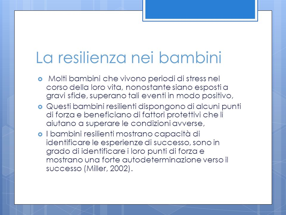 La resilienza nei bambini