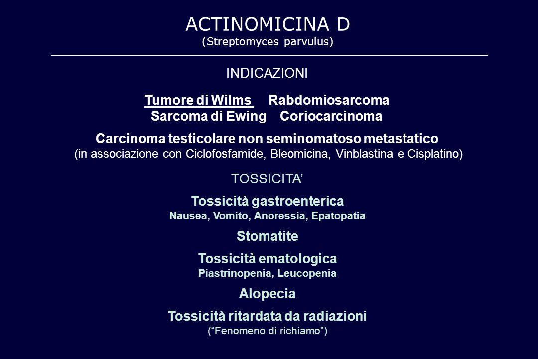 ACTINOMICINA D INDICAZIONI Tumore di Wilms Rabdomiosarcoma