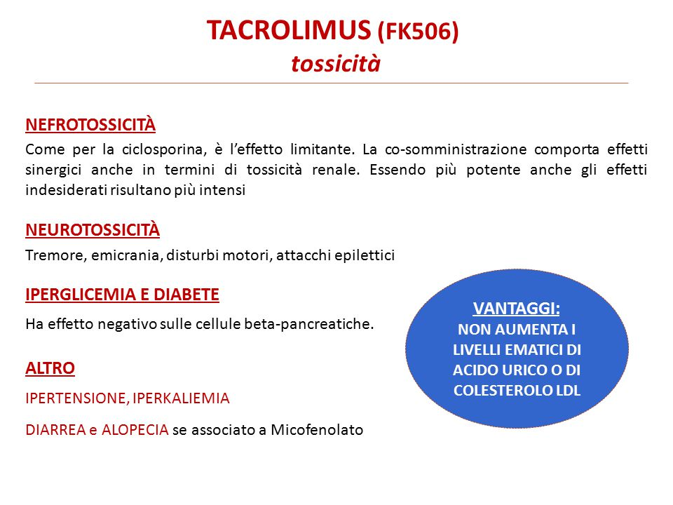 TACROLIMUS (FK506) tossicità