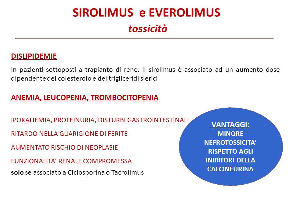 SIROLIMUS e EVEROLIMUS tossicità