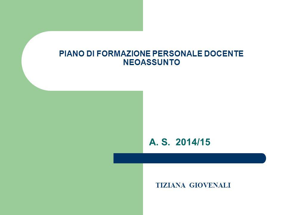 PIANO DI FORMAZIONE PERSONALE DOCENTE NEOASSUNTO
