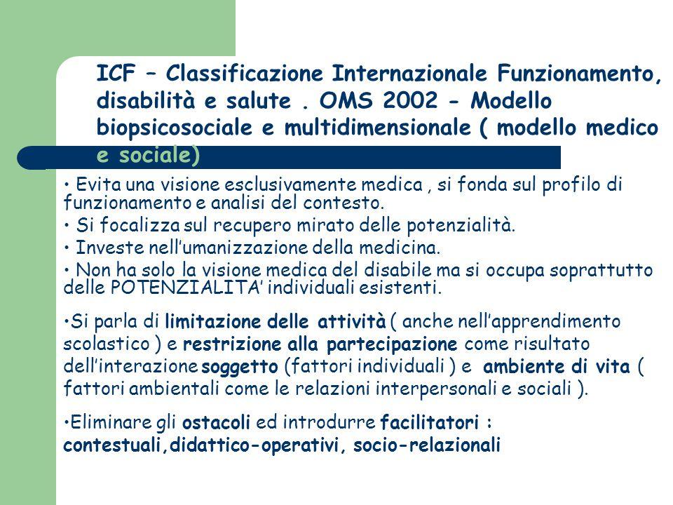 ICF – Classificazione Internazionale Funzionamento, disabilità e salute . OMS 2002 - Modello biopsicosociale e multidimensionale ( modello medico e sociale)