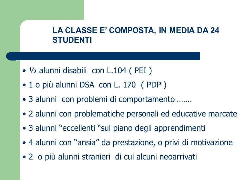 LA CLASSE E' COMPOSTA, IN MEDIA DA 24 STUDENTI