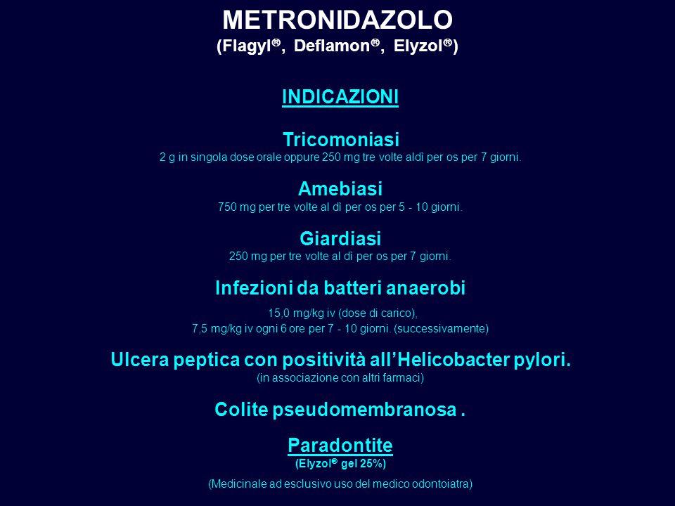(Flagyl, Deflamon, Elyzol) Infezioni da batteri anaerobi