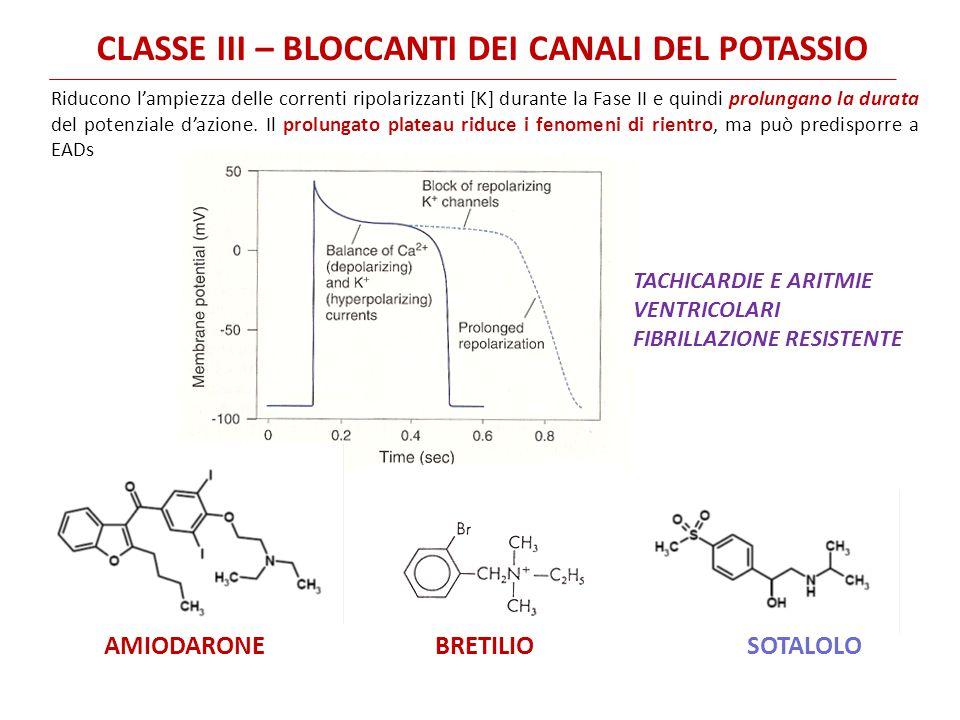 CLASSE III – BLOCCANTI DEI CANALI DEL POTASSIO