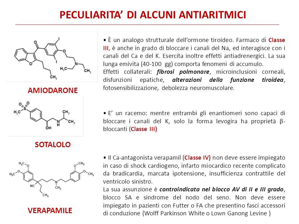 PECULIARITA' DI ALCUNI ANTIARITMICI