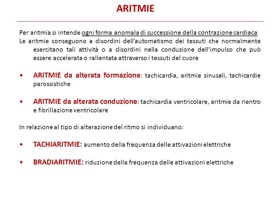 ARITMIE Per aritmia si intende ogni forma anomala di successione della contrazione cardiaca.