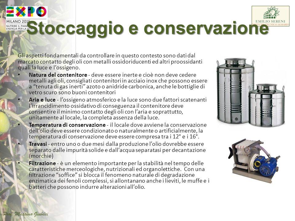 Stoccaggio e conservazione