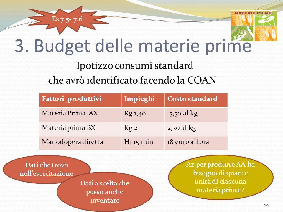 3. Budget delle materie prime