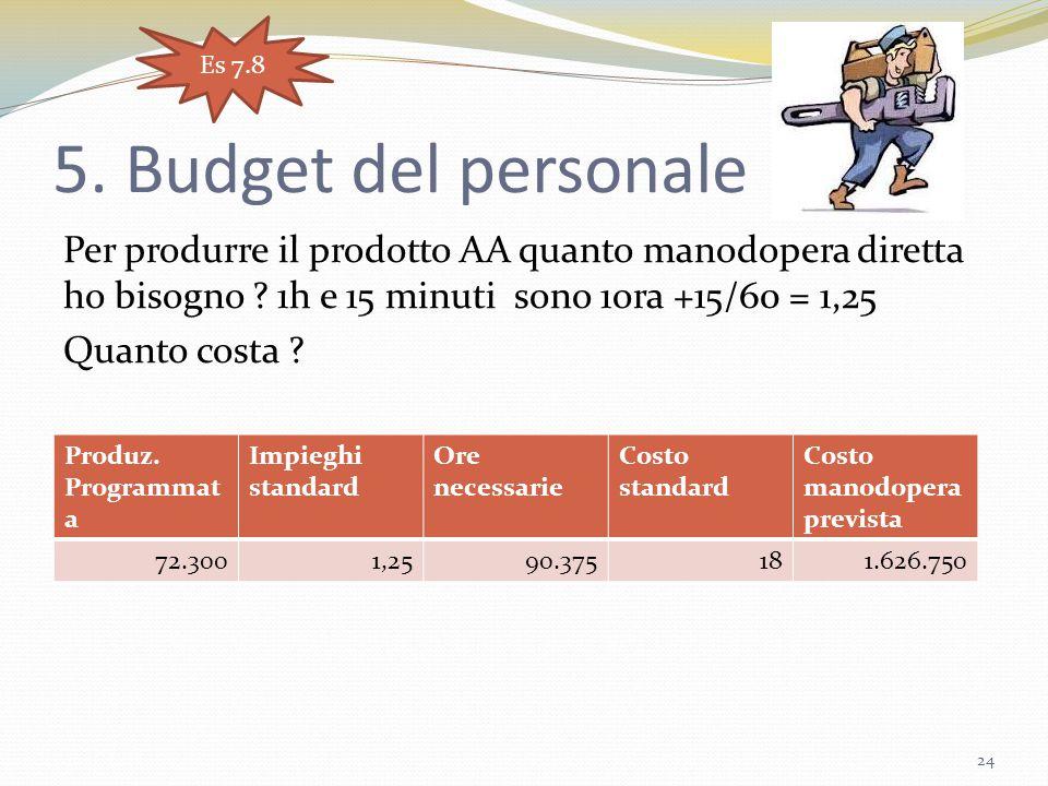 Es 7.8 5. Budget del personale.