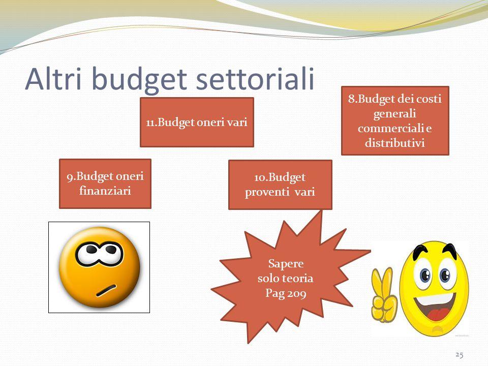 Altri budget settoriali