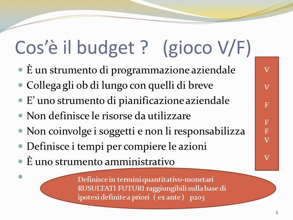 Cos'è il budget (gioco V/F)