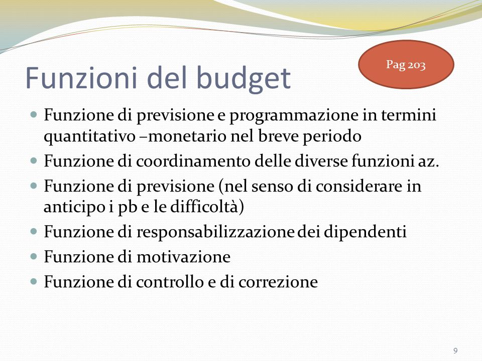 Funzioni del budget Pag 203. Funzione di previsione e programmazione in termini quantitativo –monetario nel breve periodo.