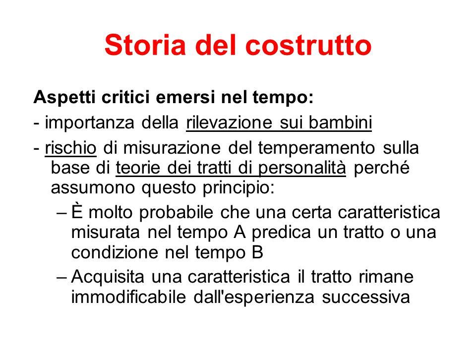 Storia del costrutto Aspetti critici emersi nel tempo: