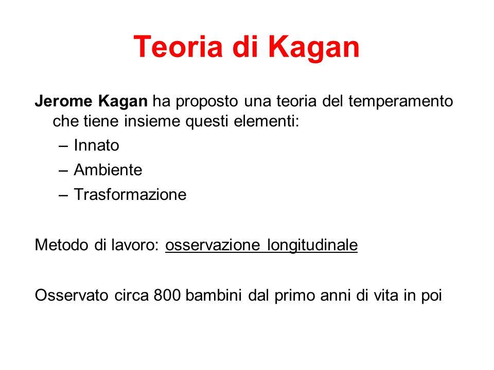 Teoria di Kagan Jerome Kagan ha proposto una teoria del temperamento che tiene insieme questi elementi:
