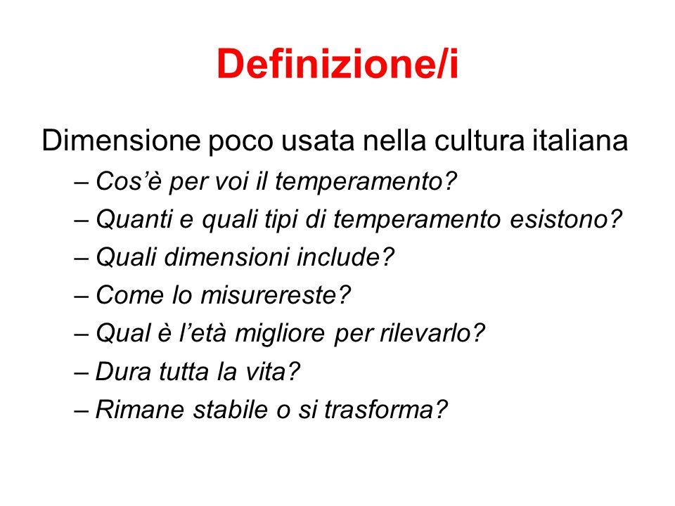 Definizione/i Dimensione poco usata nella cultura italiana