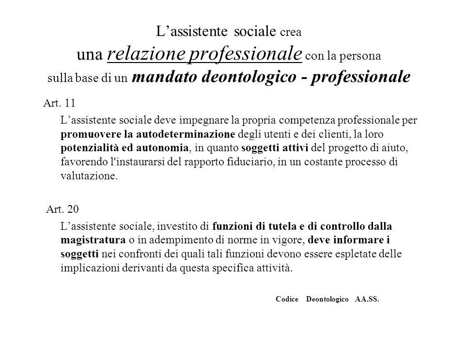 L'assistente sociale crea una relazione professionale con la persona sulla base di un mandato deontologico - professionale
