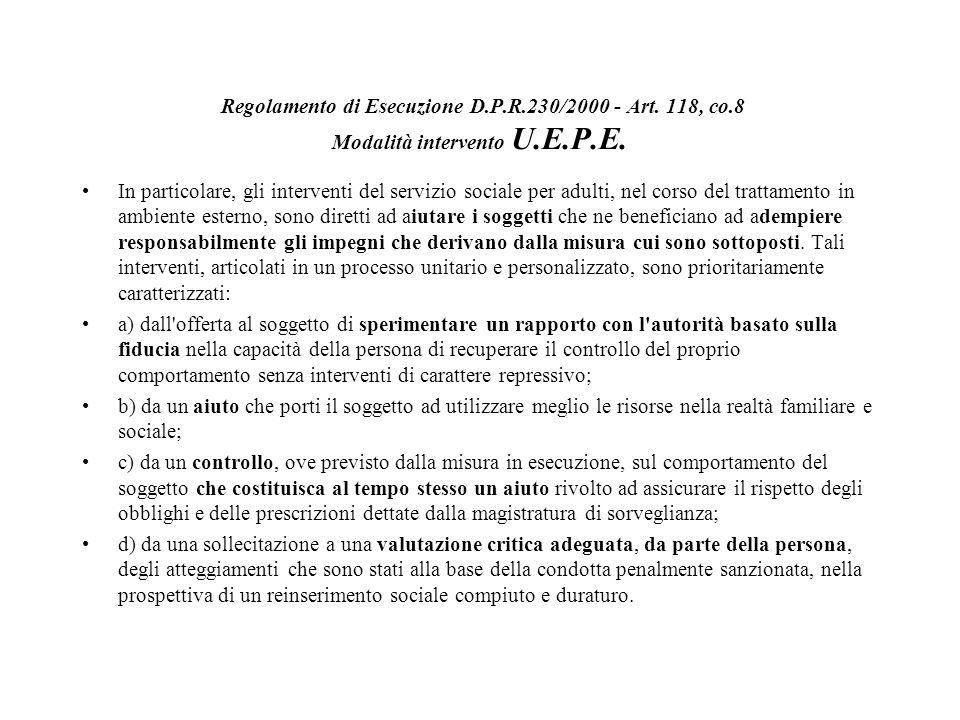 Regolamento di Esecuzione D. P. R. 230/2000 - Art. 118, co