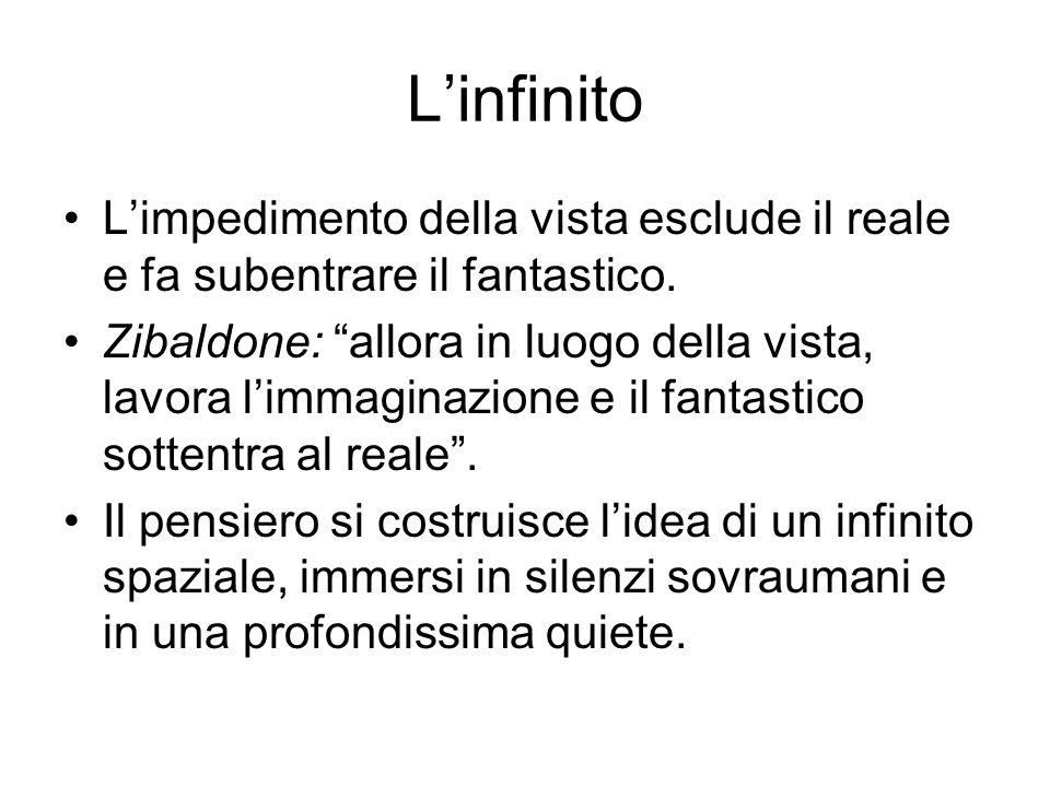 L'infinito L'impedimento della vista esclude il reale e fa subentrare il fantastico.
