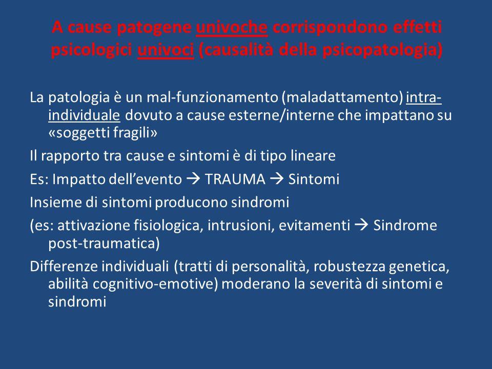 A cause patogene univoche corrispondono effetti psicologici univoci (causalità della psicopatologia)