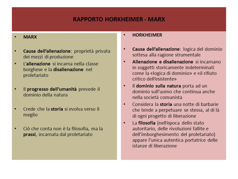 RAPPORTO HORKHEIMER - MARX