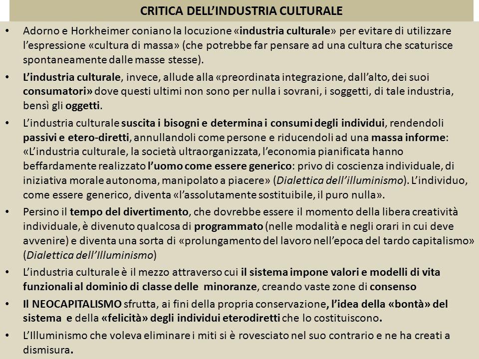 CRITICA DELL'INDUSTRIA CULTURALE